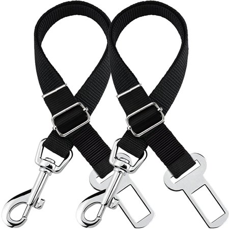 2Packs Adjustable Pet Dog Cat Safety Leads Car Vehicle Seat Belt Pet Harness Seatbelt, Made from Nylon Fabric, Black