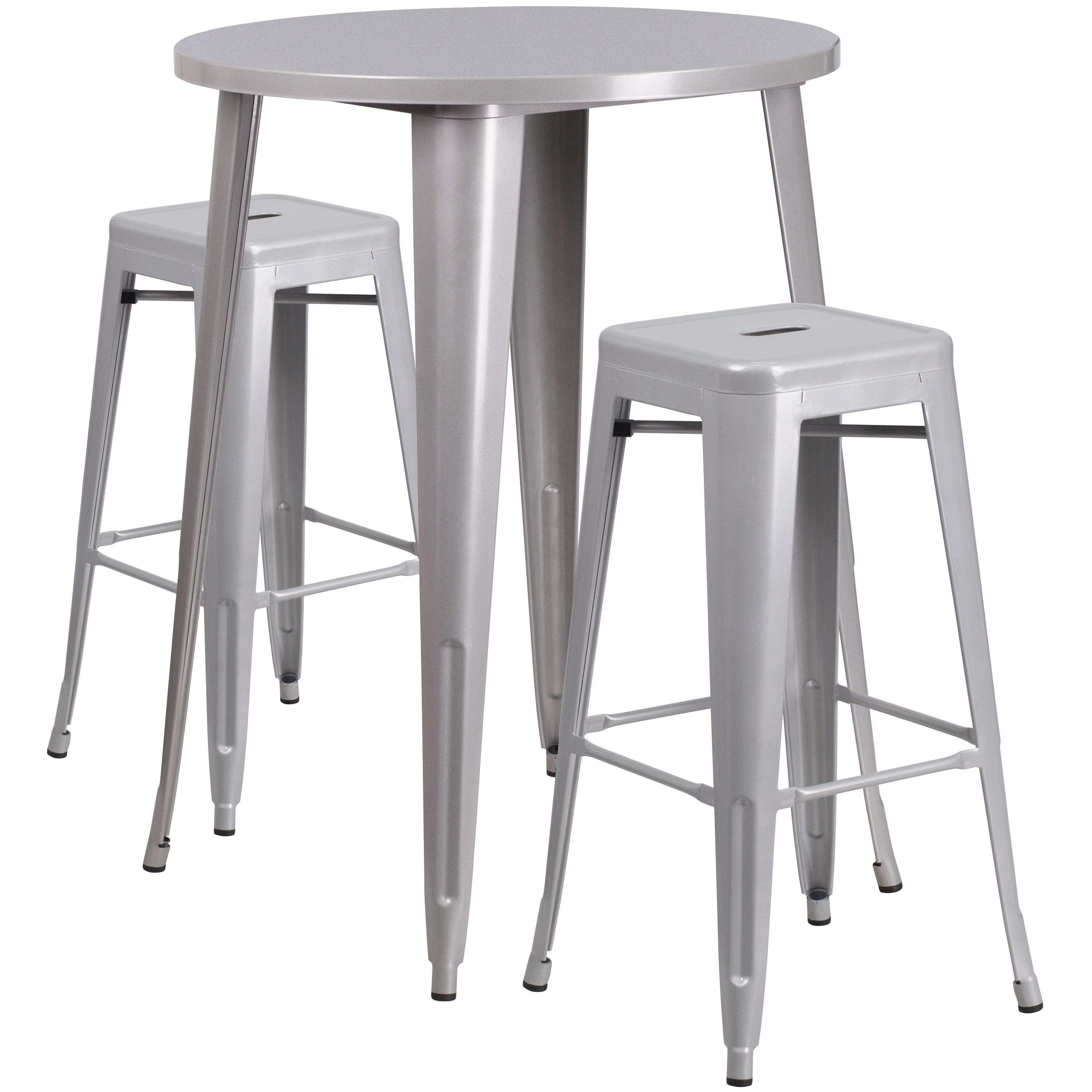 Lancaster Home 30-inch Round Metal Indoor-Outdoor Bar Table Set with 2 Square Seat Backless Barstools