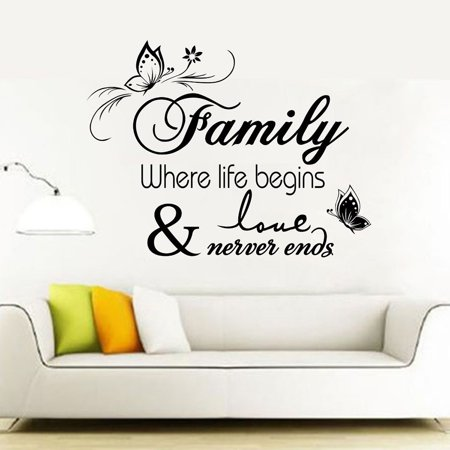Outgeek Wall Stickers Butterfly Wall Decals Family Quote Stickers Removable Decorative Wall Art Decal Decoration for Living Room TV Background Bedroom Home Dorm Wall Decor (Dora Wall Decorations)
