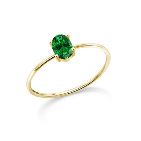 10K Yellow Gold Engagement Ring 0.35 Ct Oval Green Simulated Emerald