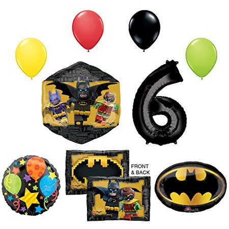 Lego Batman Birthday Party Supplies (The Lego Batman Movie 6th Birthday Party Supplies and Balloon)