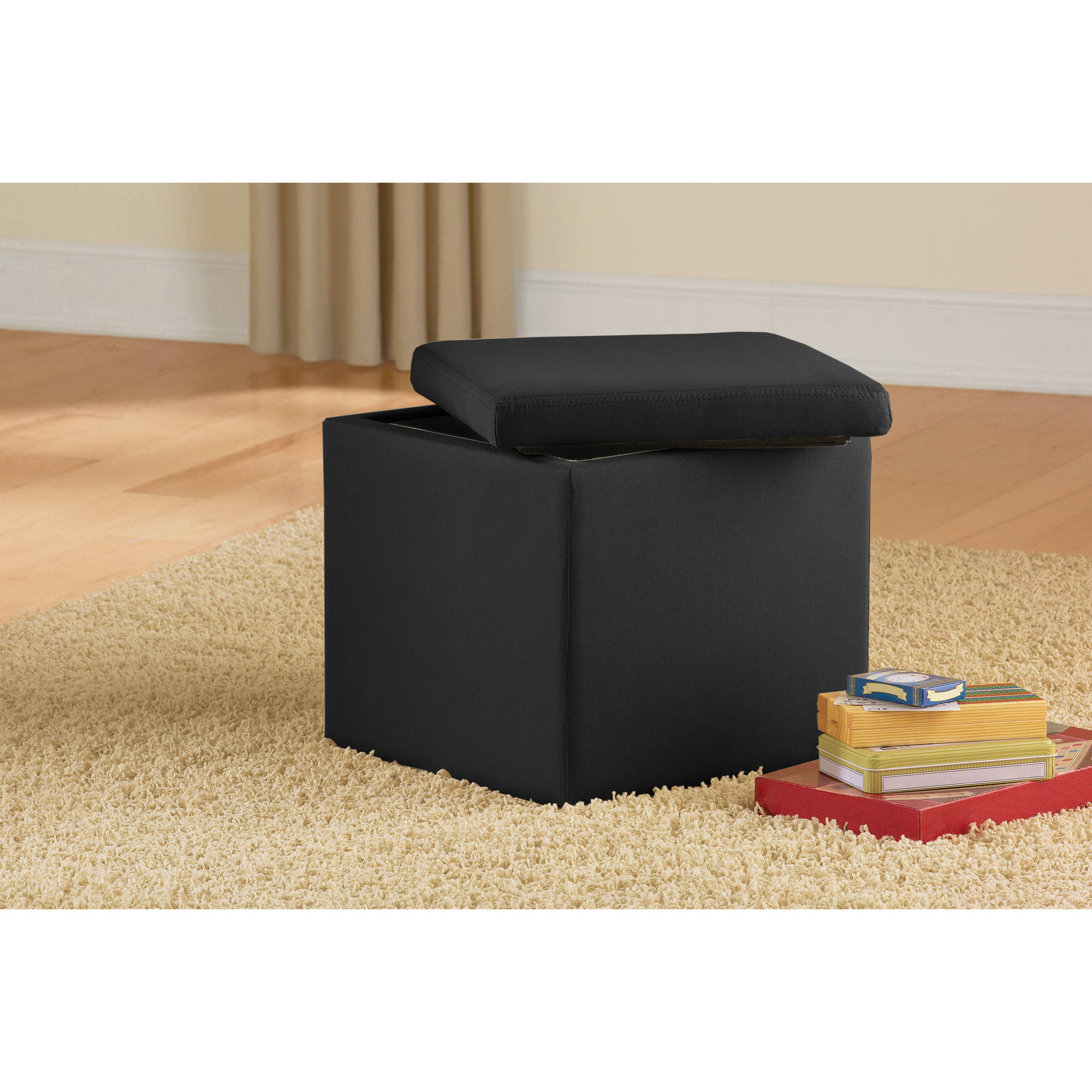 Mainstays Faux Suede Ultra Storage Ottoman, Multiple Colors