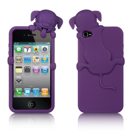 Insten High-End Dog Design Silicone Skin Back Gel Soft Case Cover For Apple iPhone 4 / 4S -