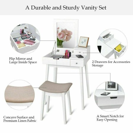 Costway Vanity Dressing Table Set Flip Mirror Desk Furniture Stool W/ 2 Drawer White - image 2 of 10