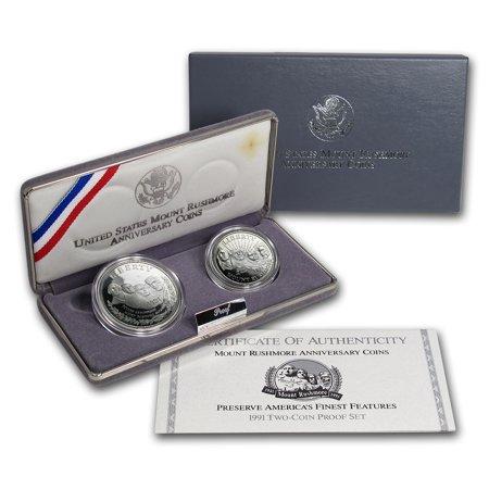 1991 2-Coin Mount Rushmore Proof Set (w/Box & COA)