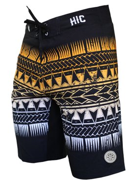 "Hawaiian Island Creations (HIC) 20"" Lacerations 8 Way Stretch Boardshorts, Black, 44"