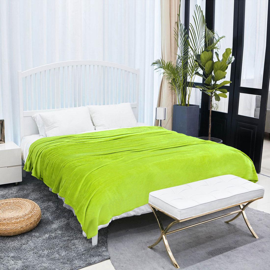 Microfiber Flannel Fleece Blanket Plush Throw Lime Green Twin/Full/Queen