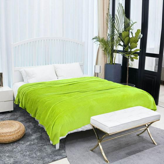 microfiber flannel fleece blanket plush throw lime green twin full queen. Black Bedroom Furniture Sets. Home Design Ideas
