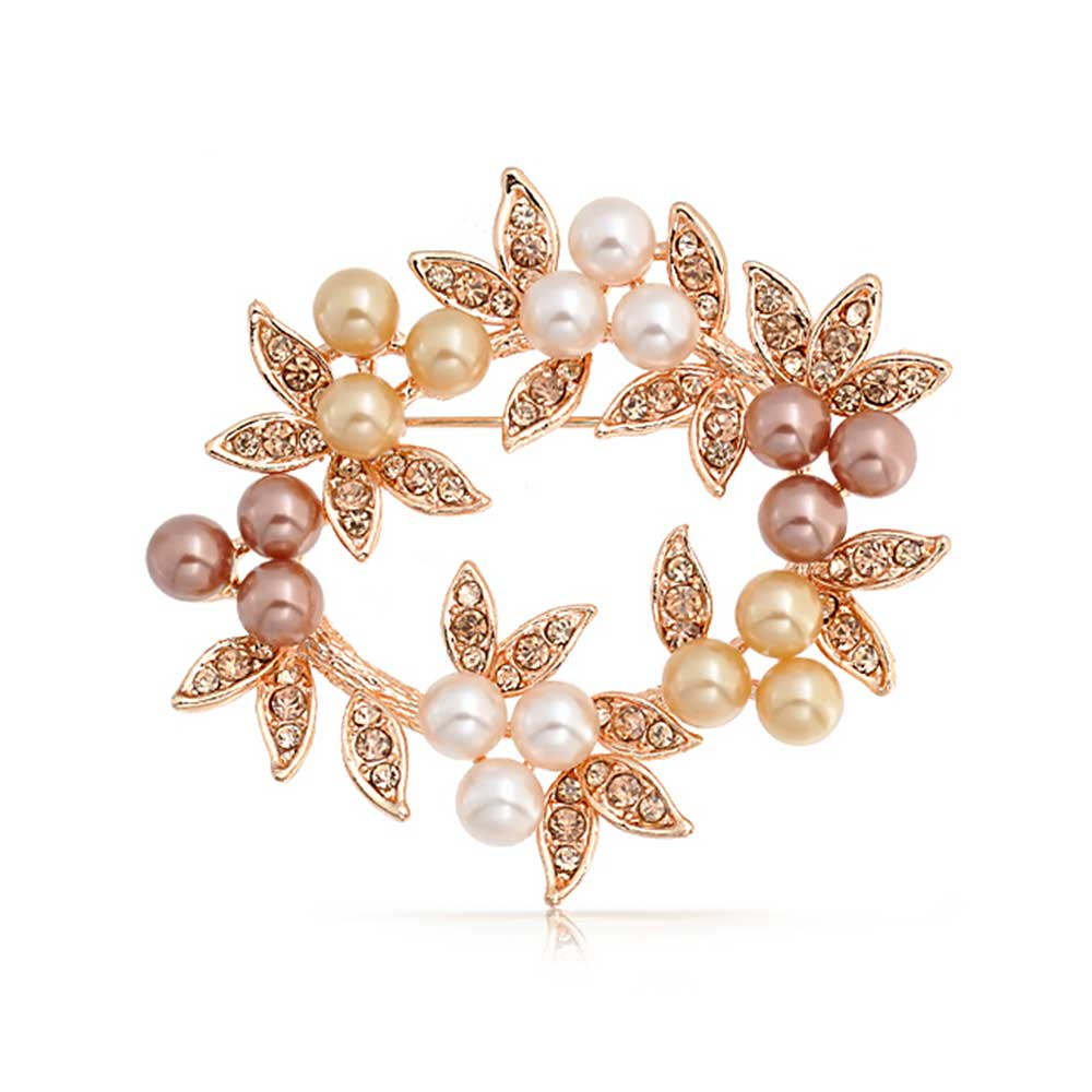 Bling Jewelry Simulated Pearl Christmas Wreath Bridal Brooch Pin Rose Gold Plated by Bling Jewelry