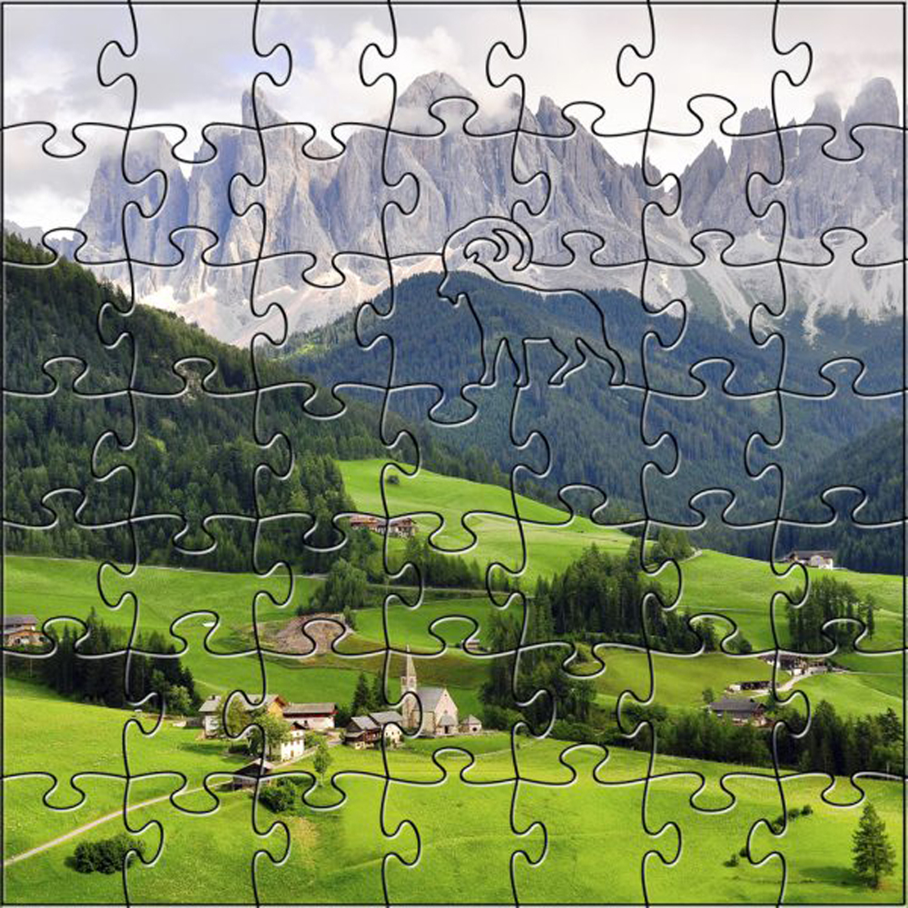 Zen Art & Design Artisanal Wooden Jigsaw Puzzle Funes Valley- 203 Piece Medium by Zen Art & Design