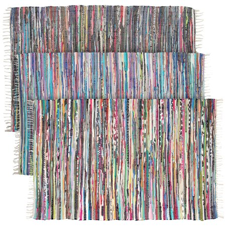 Recycled Rag Rugs - Large Rainbow Chindi Area Rag Rug Recycled Cotton Multi-Color Woven Fabric Home Decor For Living Room Bedroom 4x6 Feet