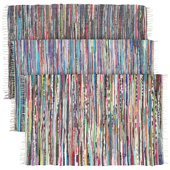 Large Rainbow Chindi Area Rag Rug Recycled Cotton Multi