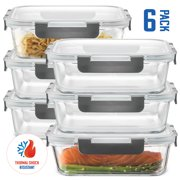Glass food storage containers 6 Pack 35 oz airtight snap locking lid