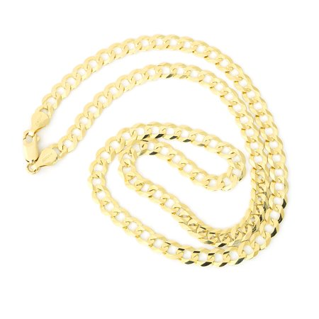 Mens Solid 14K Yellow Gold Comfort Cuban Curb 5 7Mm Chain Necklace  20   22   24   30