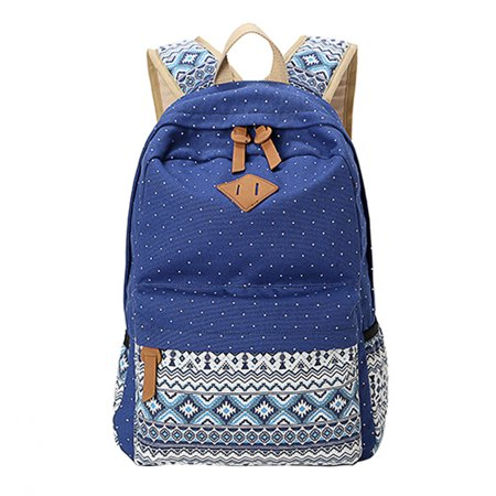 1a1289c5b2 Itopboutique - Casual Canvas Backpack School College Backpack Fashion Cute  Lightweight Backpacks for Teen Young Girls (Dark Blue) - Walmart.com
