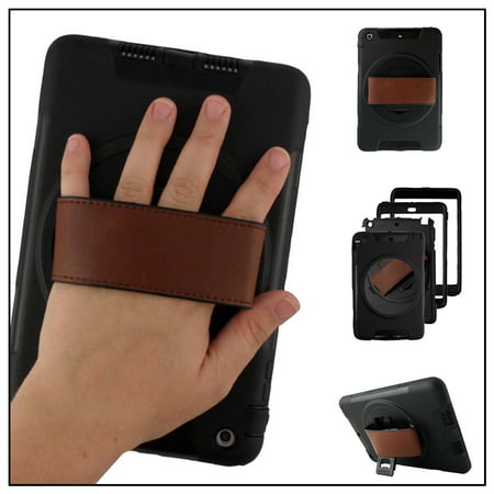 Black Rugged Kickstand Case Durable LEATHER HAND STRAP for Apple iPad Air
