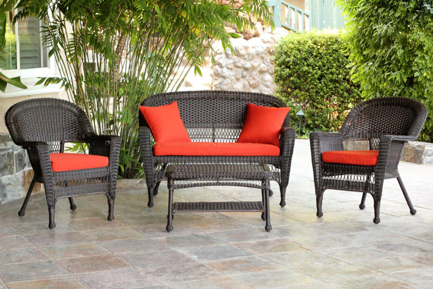 4-Piece Espresso Wicker Patio Chairs, Loveseat & Table Furniture Set Red Cushions by CC Outdoor Living