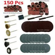 "MTP ® 150 Pcs Rotary Power Tool Accessory Kits Set Suit for Dremel 3000 4000 8220-2/28 395 7700-1/15 4000 3/34 , Milwaukeen Nextec 1/8"" Shank Hobbyy Clean Polish Sanding Drum Brass Nylon Wheel"
