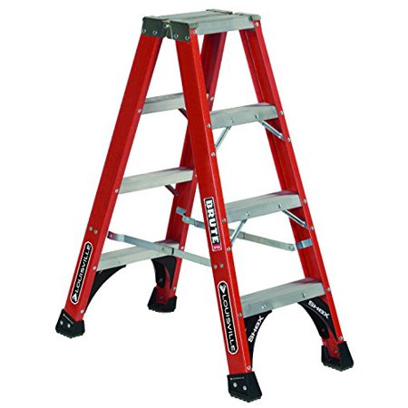 Fiberglass Front End (Secure Heavy Duty Steel Gussets Fiberglass Twin Front Ladder 4ft by Louisville)
