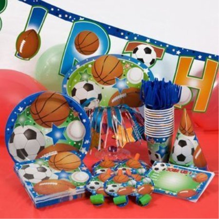 ultimate sports theme party kit - features football/soccer/baseball/basketball - included in pack: invitations, plates, napkins, cups, party hats & decor (serves up to