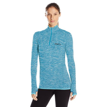 Craft Sportswear Women's Active Comfort Long Sleeve Lightweight Base Layer Zip Shirt Teal X-Large