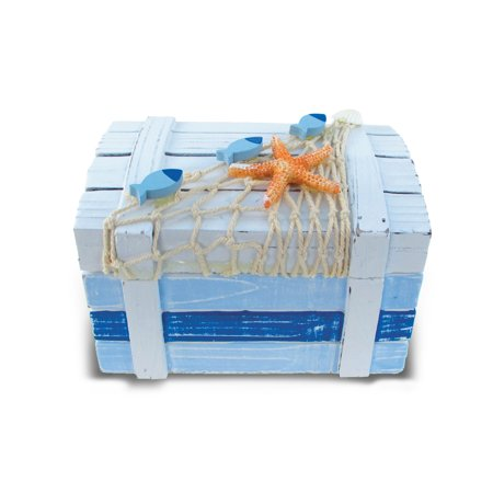 Nautical Decor - Light Blue Stripes Treasure Box Large