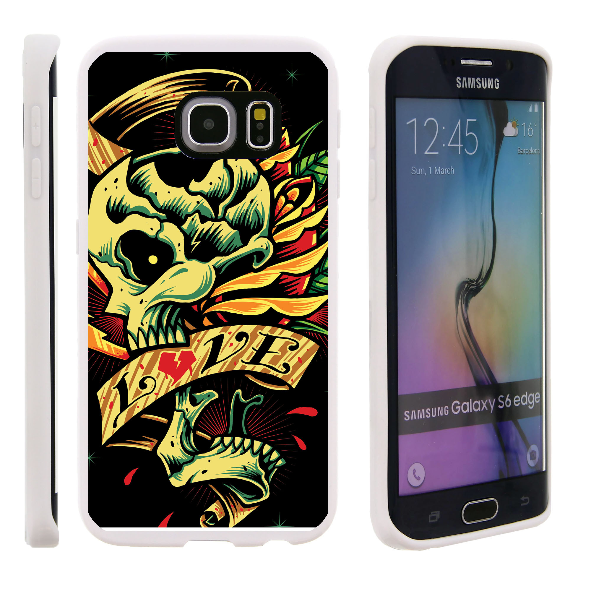 Samsung Galaxy S6 Edge G925, Flexible Case [FLEX FORCE] Slim Durable TPU Sleek Bumper with Unique Designs - Tattoo Skull