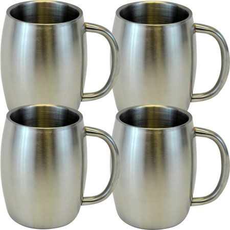Stainless Double Wall Steel Beer / Coffee / Desk Mug, Smooth 14-Ounce, Set of 4 - Disposable Beer Mugs
