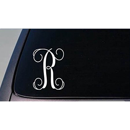 Monogram R vine initial *I363* 6 inch tall Sticker decal letters gift](Monogram Stickers For Laptops)