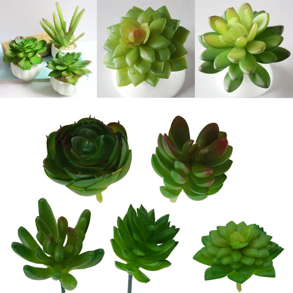 1 Pcs Artificial Mini Plastic Miniature Succulents Plants Art Garden Home Decor Ideal for Decorating Indoor or Outdoors