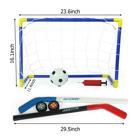 2 in 1 Kids Sports Soccer and Ice Hockey Goals with Balls and Pump For Children Playing Indoor
