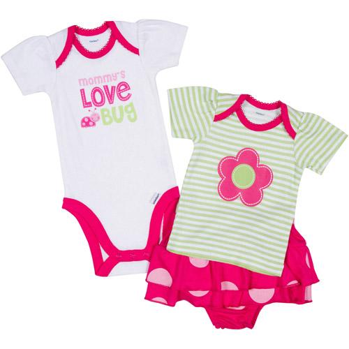 Gerber Newborn Girl 3 Piece Bodysuit, Shirt and Skort Set