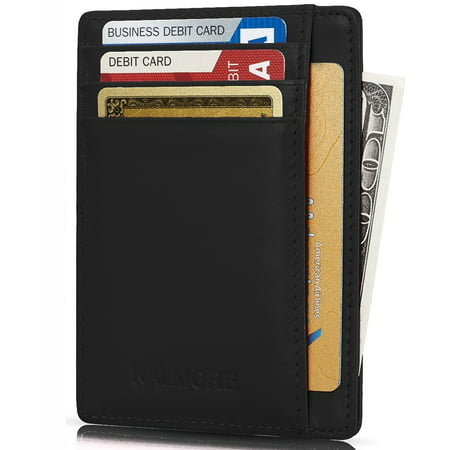 Credit Card Holder with ID Window RFID Protected Genuine Leather Slim Wallet (Black)