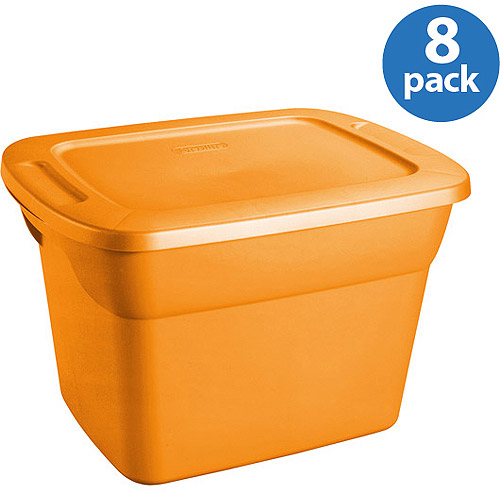 Sterilite 18 Gal Tote Set of 8 Orange Walmartcom