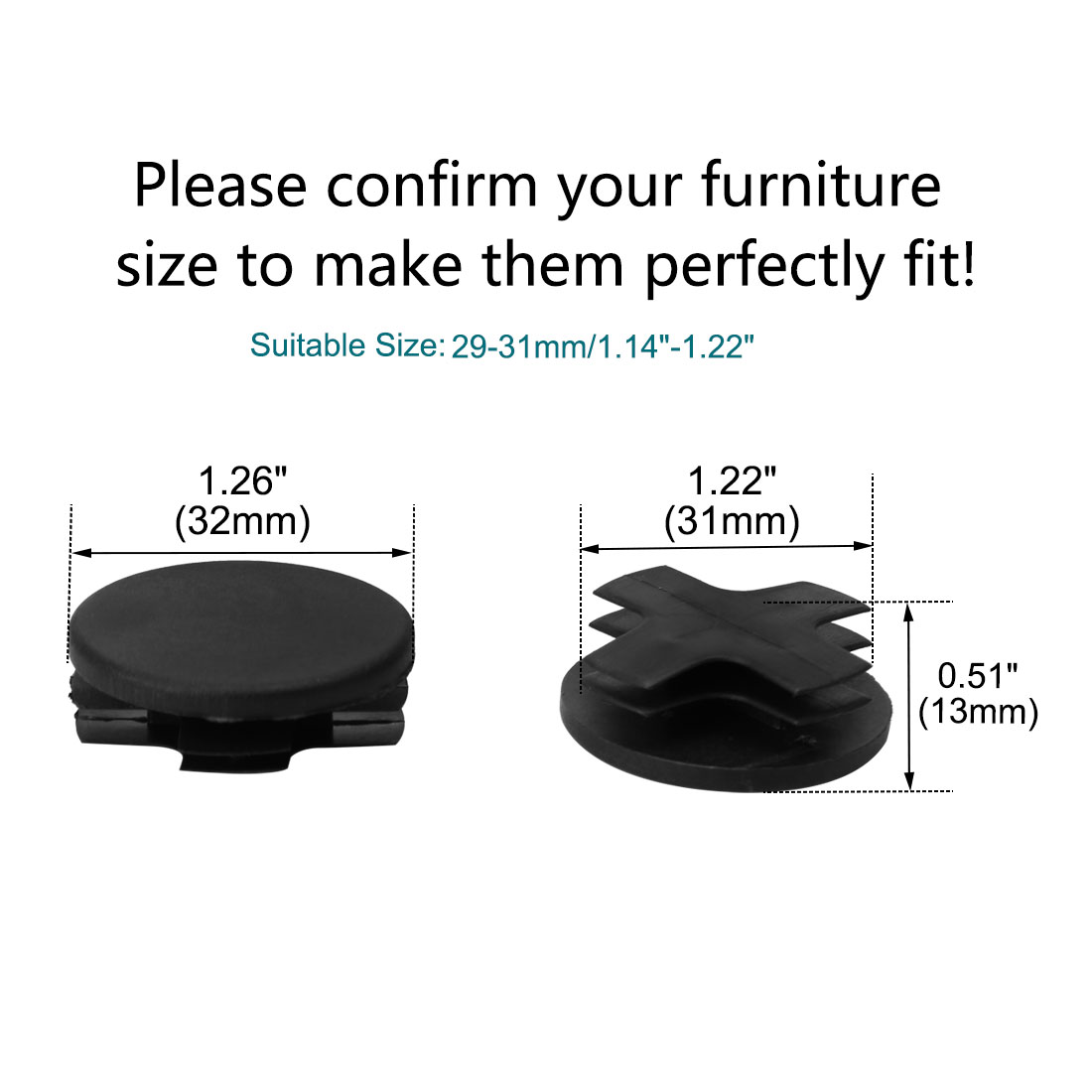 """13pcs 1 1/4"""" Dia 32mm OD Plastic Round Tube Insert Rib Pipe Cover Cap Black Floor Furniture Feet Protector, Fit for 1.14 - image 1 of 7"""