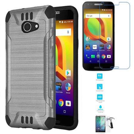sale retailer 7135f 4689b Phone Case For Alcatel Zip A577vc, Consumer Cellular Alcatel Kora, Alcatel  A30 (Verizon) Tempered Glass Screen with Brush Dual-Layered Cover (Combat  ...