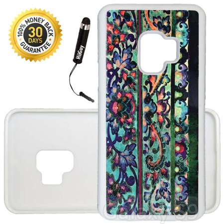 Custom Galaxy S9 Case (Floral Art Malaya) Edge-to-Edge Rubber White Cover Ultra Slim | Lightweight | Includes Stylus Pen by Innosub