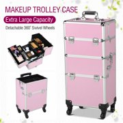 Yaheetech Aluminum 4 Removable Rolling Wheels Makeup Case Salon Cosmetic Organizer Trolley Train Case Makeup Case (Pink)