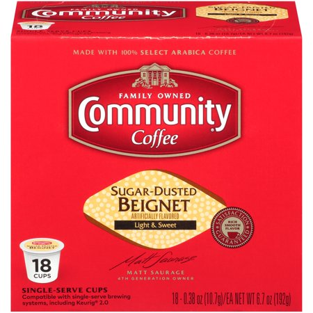 Community Coffee Sugar Dusted Beigned Flavored Single Serve Coffee Pods, 18 Count - Compatible with Keurig 2.0 K-Cup (Coffee Rio Sugar)