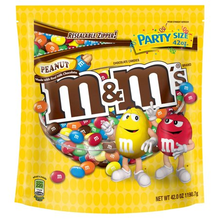 M&M'S Peanut Chocolate Candy Party Size, 2 Pack (42oz Peanut)