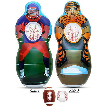 Inflatable Two Sided Football & Baseball Target Set - Includes One Inflatable 5 Foot Tall Target (Football Player on one side and Baseball Catcher on 2nd Side), a Soft Mini Football and Mini Baseball - Jerry Rice Football Player