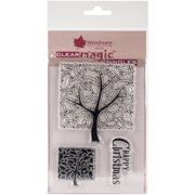 """Woodware Clear Stamps 3.5""""X5.5""""-Holly Tree"""
