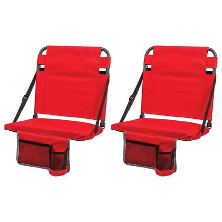 Eastpoint Sports Adjustable Backrest Stadium Seat w/ Cup Holder, Red (2