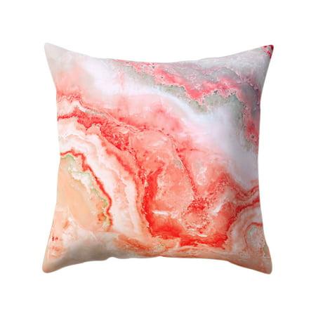 Colorful Pillowcase 45*45 Rosiest Geometric Marble Texture Pillow Case Super Soft Throw Sofa Bed Cushion Cover Protector Micro Fiber Peach Home Decor Bolster Pillowslip (Style 6)