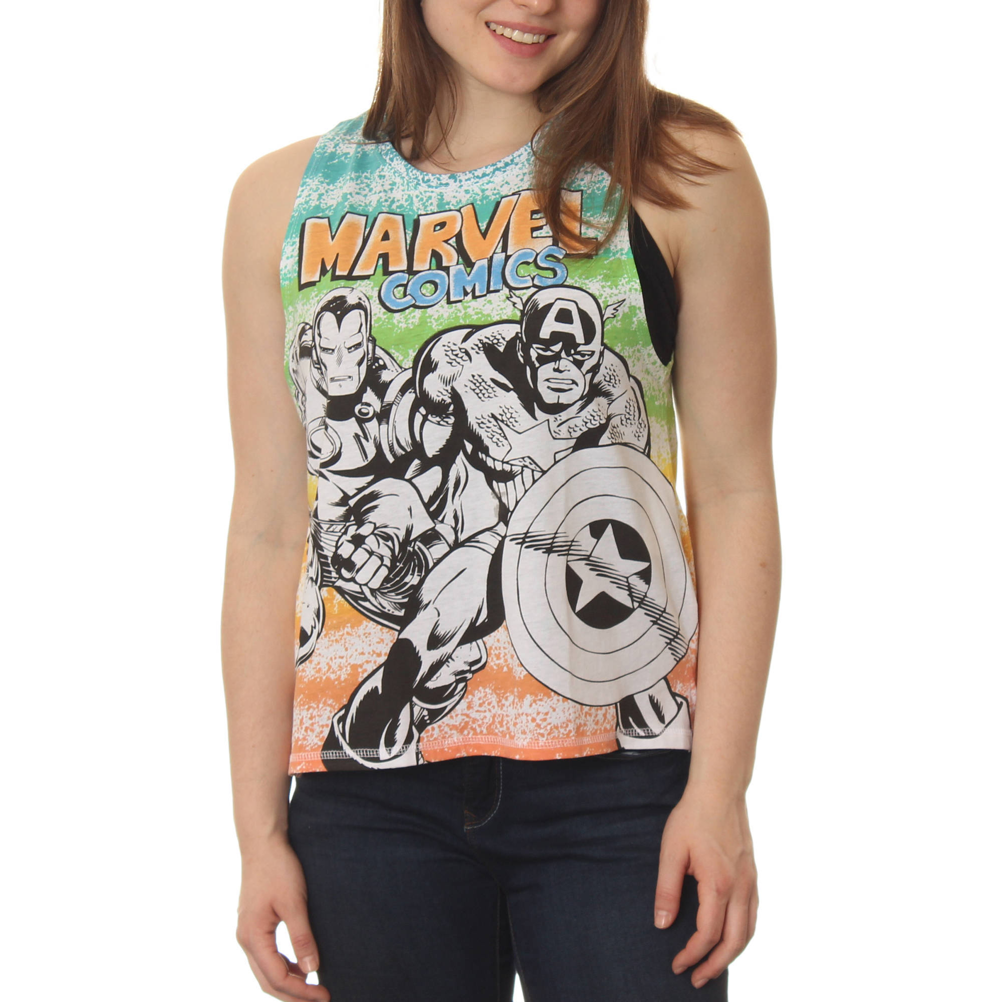 Juniors' Avengers Iron Man and Captain America Striped Side Split High Low Sleeveless Muscle Graphic Tee