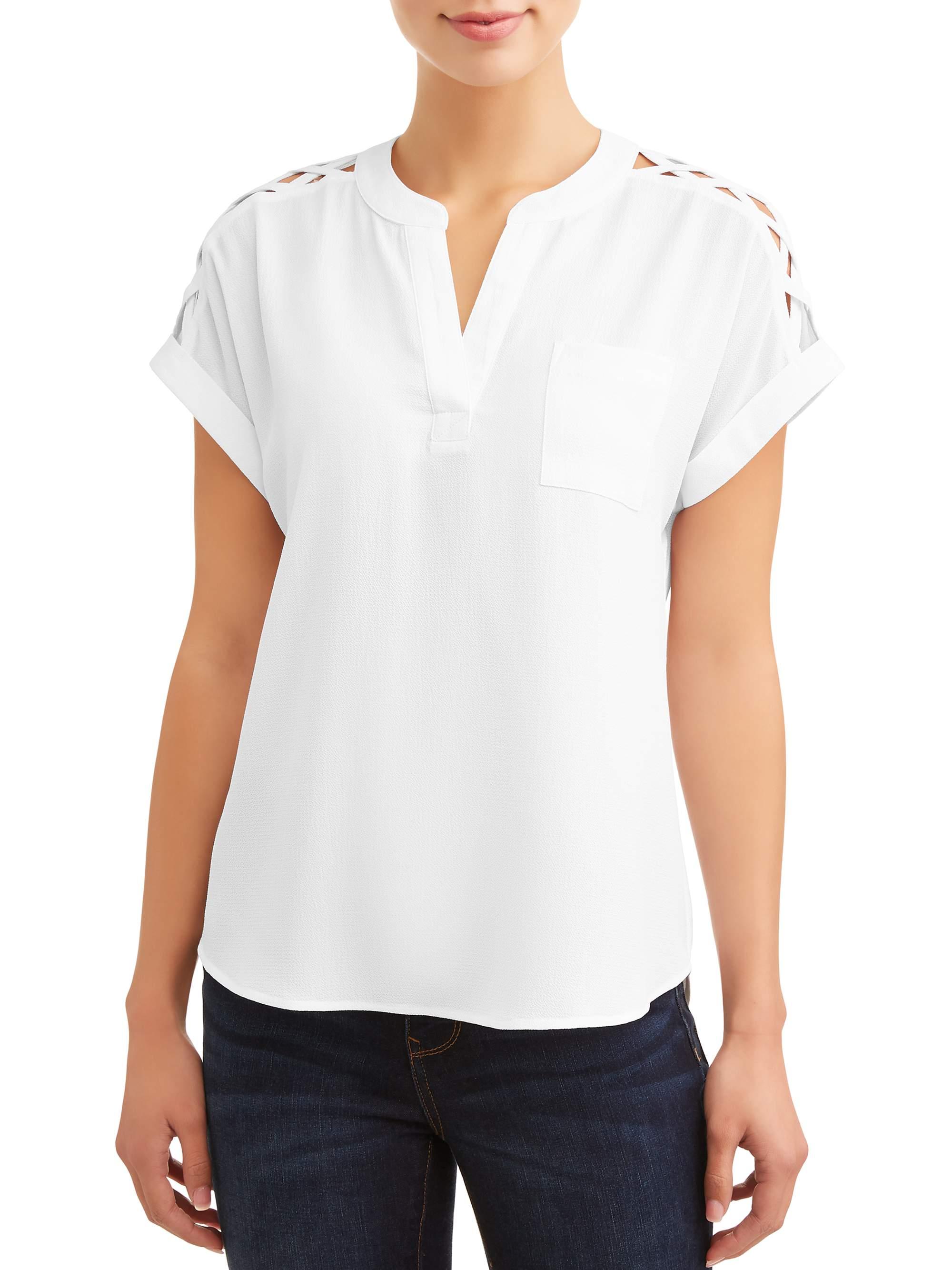Women's Short Sleeve Shoulder Caging Top