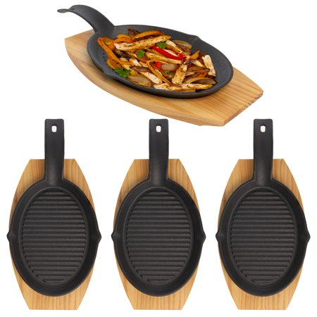 Mr. Bar-B-Q (2 or 8 Piece) Fajita Skillet Pan Set With Wood Base Kitchen Accessories Cast Iron Skillet Cooking Set