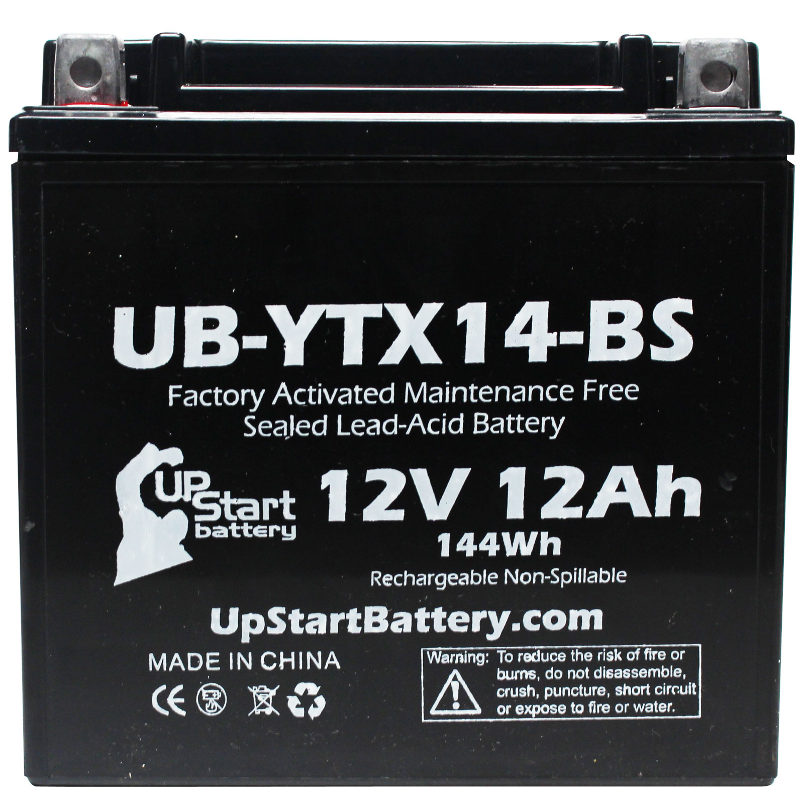 2-Pack Replacement 2005 Honda TRX350 Rancher 350 CC Factory Activated, Maintenance Free, ATV Battery - 12V, 12AH, UB-YTX14-BS - image 2 de 4