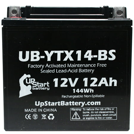 3-Pack Replacement 2011 Honda TRX500FA Fourtrax Rubicon 450 CC Factory Activated, Maintenance Free, ATV Battery - 12V, 12AH, UB-YTX14-BS - image 2 de 4