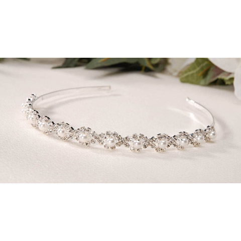 Victoria Lynn Tiara Headband - Silver - Rhinestones & Pearls